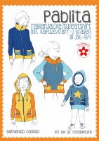 Pablita, Raglanjacke/Sweatshirt mit Kapuze/Kragen, Papierschnittmuster